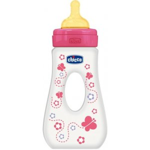 Chicco Láhev Travel polypropylen 240ml,kaučuk.d Motýlek