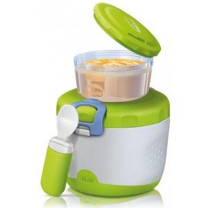 Chicco Termozásobník s malým zásobníkem a cestovní lžička Zelená