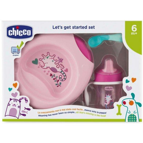 Chicco Jídelní set - talíř, lžička, sklenka, 6m+ Růžový
