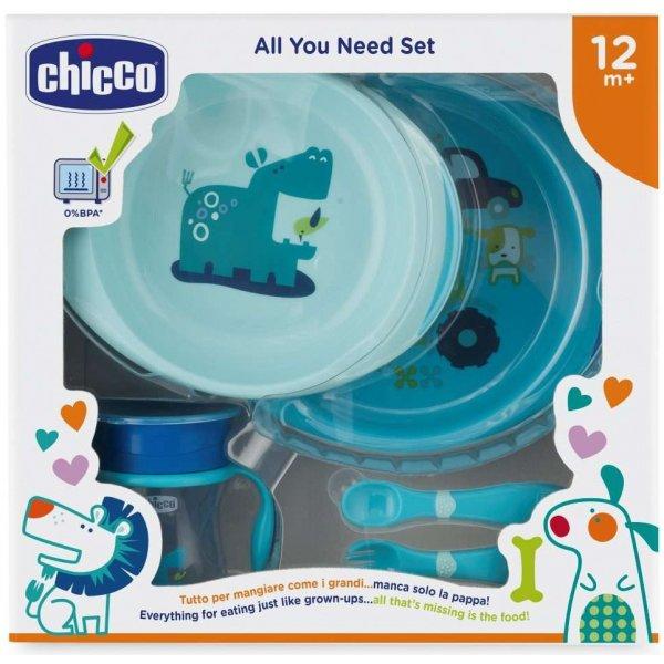 Chicco Jídelní set - talíře, příbory, hrnek, 12m+ Modrý