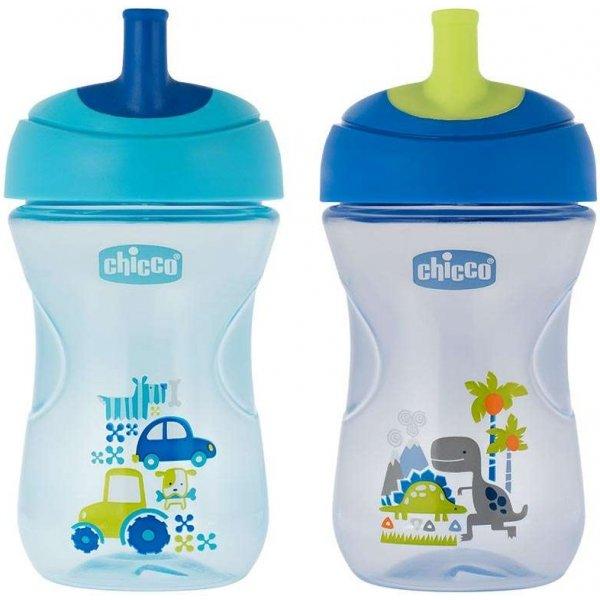 Chicco Hrneček Advanced s hubičkou ve tvaru brčka 266 ml, 12m + Modrý