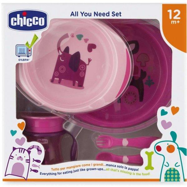 Chicco Jídelní set - talíře, příbory, sklenka, 12m+ Růžový