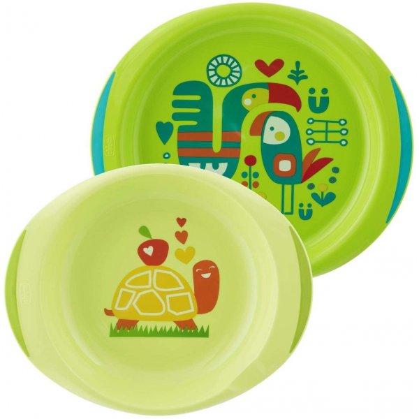 Chicco Jídelní sada - talíř,miska 12m+ Zelená