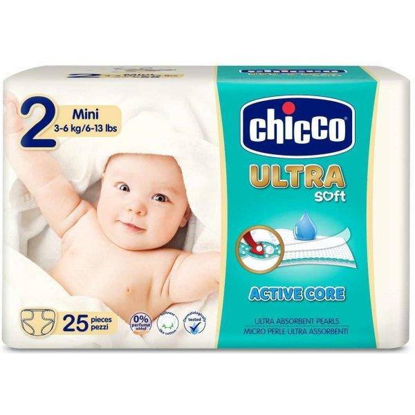 Chicco Jednorázové pleny Ultra Mini 3-6kg 25ks Bílá