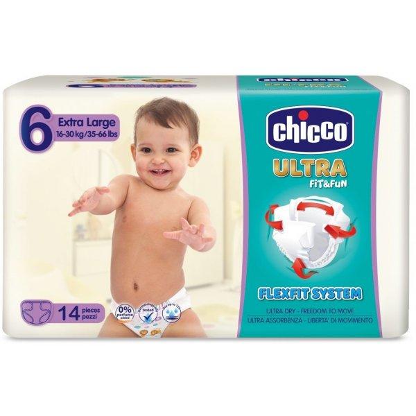 Chicco Jednorázové pleny Ultra Extra Large 16-30kg 14ks Bílá
