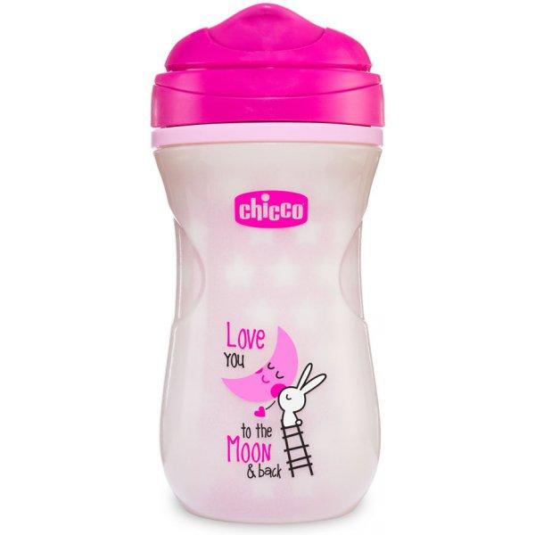 Chicco Hrneček Shiny termo fluoreskující s hubičkou 200 ml, 12m+ Růžový