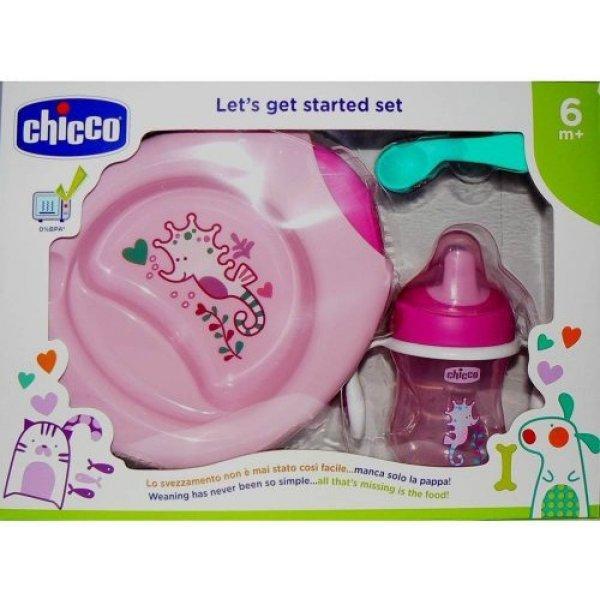 Chicco Jídelní set - talíř, lžička, hrnek, 6m+ Růžový