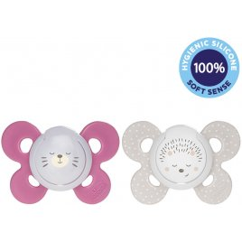 Chicco Šidítko Physio Comfort silikon noční děvče - méďa/ježek 2 ks, 16-36 m+