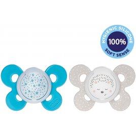 Chicco Šidítko Physio Comfort silikon noční chlapec - hvězdy/ježek, 2 ks, 16-36 m+
